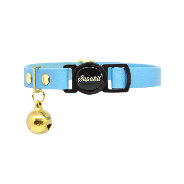 'Azure' Blue Soft Leather Cat Collar