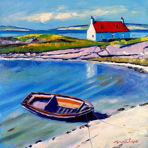 ISLE OF BARRA/' FRAMED SIGNED PRINT FRASER MILNE /'BEACHED BOAT AND COTTAGE
