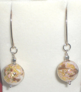 Murano Marbled Pink Earrings with Sterling Silver