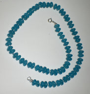 Blue Sponge Quartz and Swarovski Crystal Necklace with Sterling Silver