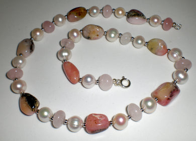 Pink Peruvian Opal Fresh Water Pearl and Sterling Silver Necklace
