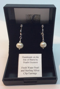 Fresh Water Pearl and Sterling Silver Clip Earrings