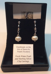 Fresh Water Pearl and Sterling Silver Clip Earrings Variant