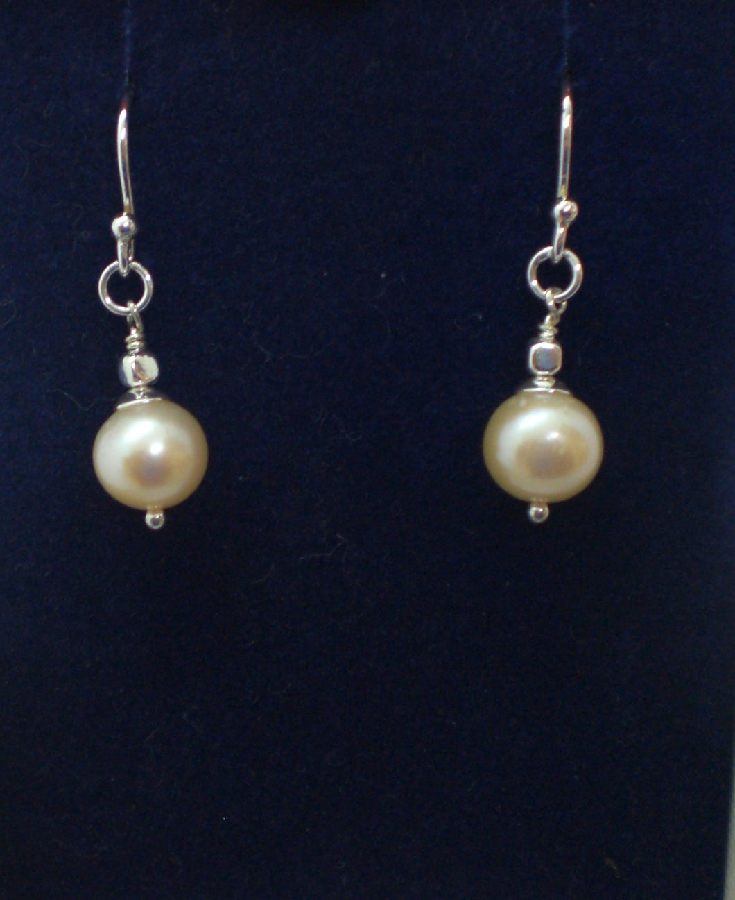 Peach Fresh Water Pearl and Sterling Silver Earrings