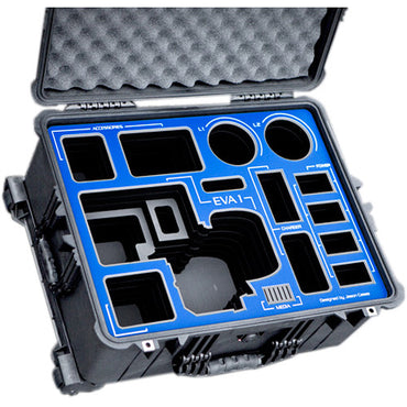 Jason Cases Hard Travel Case for Panasonic AU-EVA1 Camera (Blue Overlay) - The Film Equipment Store