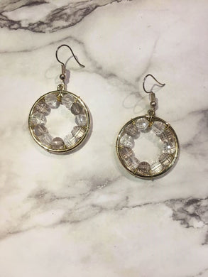 Handmade Gold Circle transparent beaded earrings/ 手制金圈透明串珠耳環