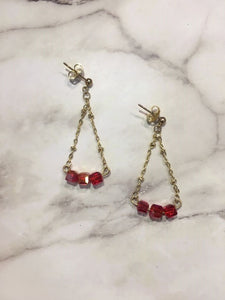 Handmade Geometric Triangle Red Beaded earrings/ 手制紅珠三角形耳環