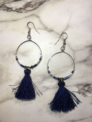 Handmade Blue Tassel Circle earrings/ 手制藍色流蘇圈圈耳環
