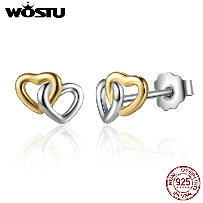Heart To Heart Stud Earrings/ 心連心耳釘