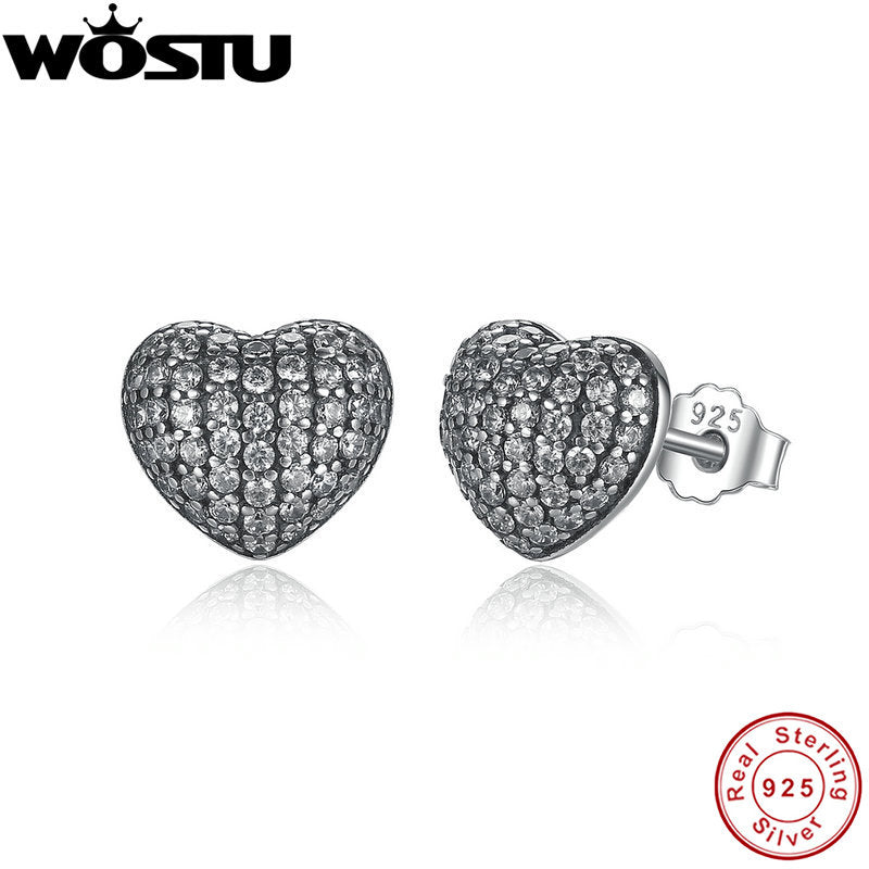 In My Heart Pave Stud Earrings/ 我的心路耳釘