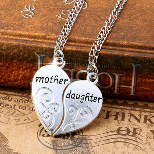 Silver  Mother & Daughter Love Heart Pendant Charm Chain Necklace