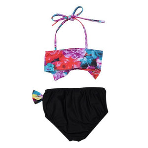 Two Piece Baby Girl Swimsuit with Cute Floral Pattern/ 兩件式小童泳裝