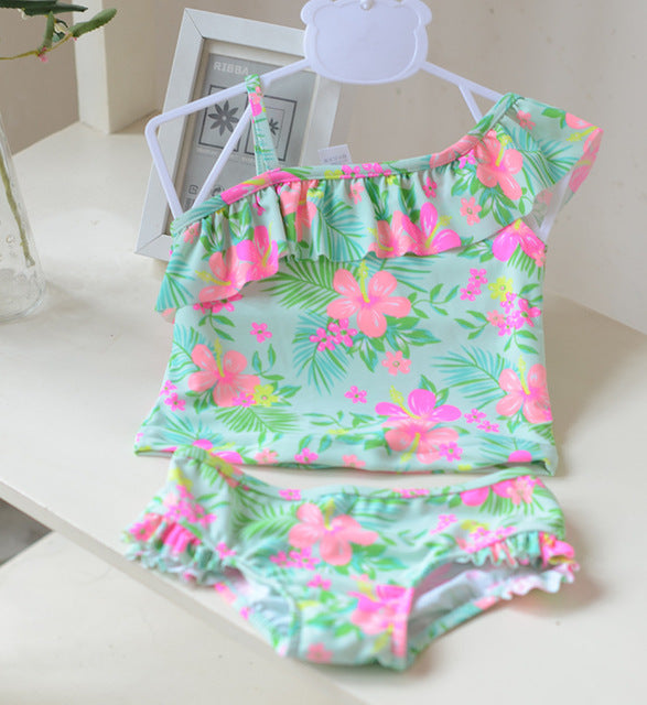 Swimwear Kids Swimming Bikinis Set Two Pieces Baby Girls Bathing Suit Children Halter Padded Tassel Swimsuit CH30