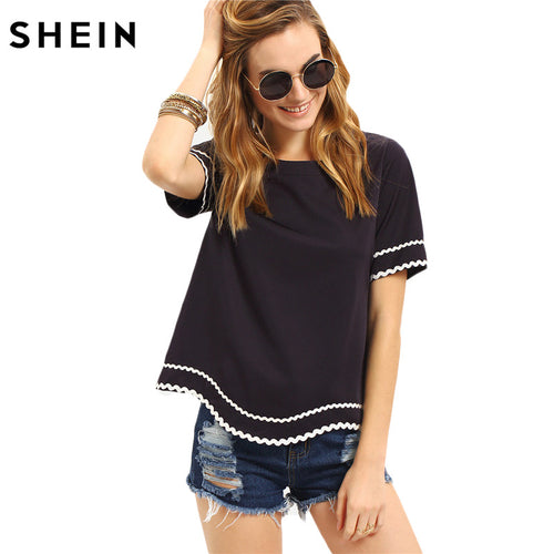 Round Neck Navy Waved Print Trim Short Sleeve Casual T-shirt