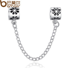 High Quality Silver Heart Safety Chain Charm Beads/ 銀色安全扣