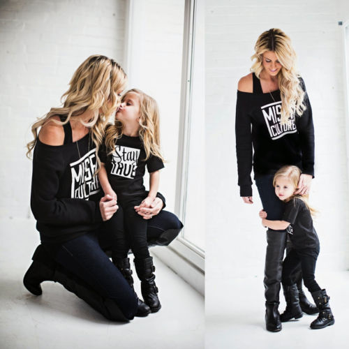 Couple Letter T-Shirt Fashion Long sleeve Mother Short Sleeve Daughter Matching Shirts Family Outfit Clothes