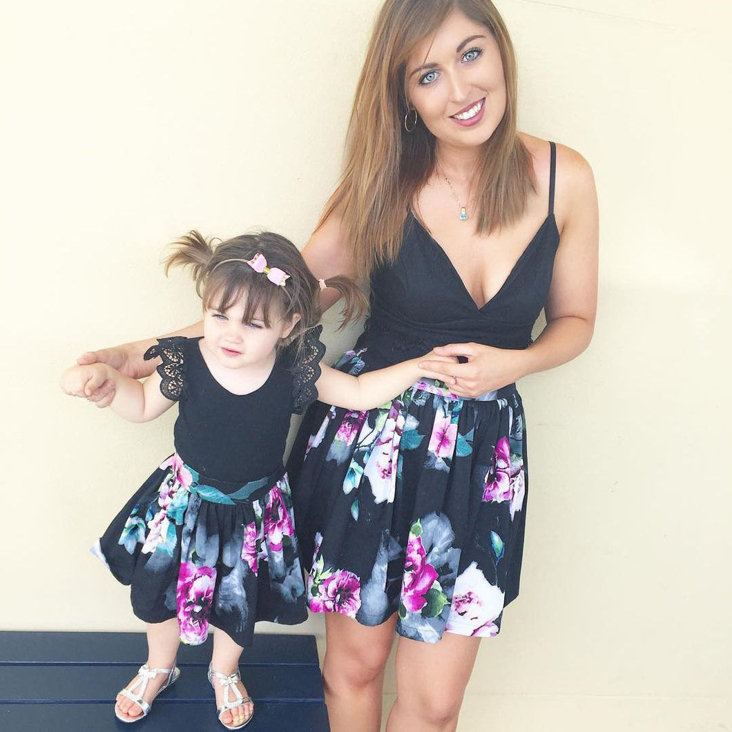 Family Mother Daughter Matching Girl Women Floral Dress Clothes Outfit Top