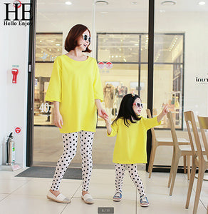 HE Hello Enjoy Family Matching Outfits Spring Casual Mother And Daughter Matching Clothes T-shirt+Dot Pant Clothing Sets Kids