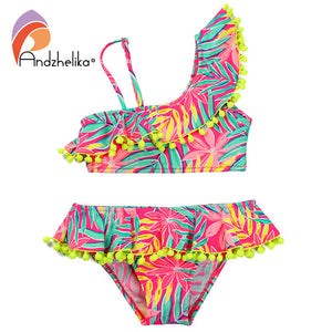 Girls Cute Lotus Leaf Two Piece, One Shoulder Swimsuit (4 Colors)