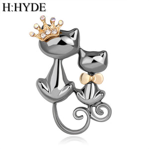 H:HYDE Smooth Mother Daughter Cats Brooches Crystal Crown Queen Corsages Hijab Pin Women Hats Scarf Suit Brooch Clothes Buckles