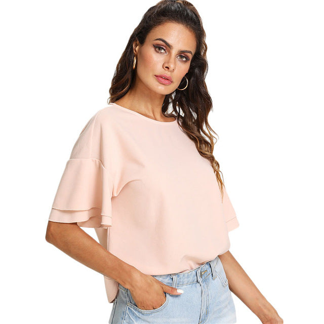 SHEIN Pink Drop Shoulder Layered Sleeve Top