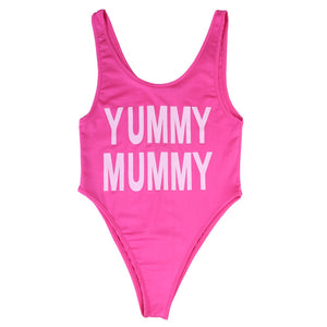 Mother & Daughter Pink One-Piece Letter Prints Swimming Costume