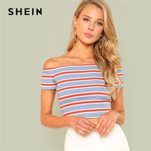 SHEIN Rib Knit Striped Bardot Tee/ 羅紋針織條紋橫間短T