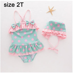 Cute baby girl one piece swimwear with hat dot bow Suit 2-6yrs/ 可愛帽子泳裝