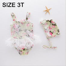 Newborn Toddler Infant Child Kid Swimwear Baby Girl floral lace Swimsuit Bikini 2Pcs Set Bathing Suit with hat Costume
