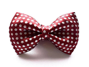 Burgundy Spotted Silk Bow Tie