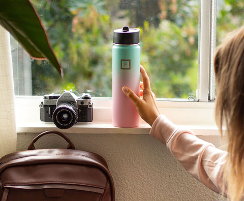 Girl Traveling with Iron Flask Water Bottle