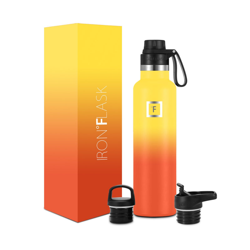 24 Oz Narrow Mouth Water Bottle with Spout Lid Narrow Mouth Water Bottles Iron Flask Fire