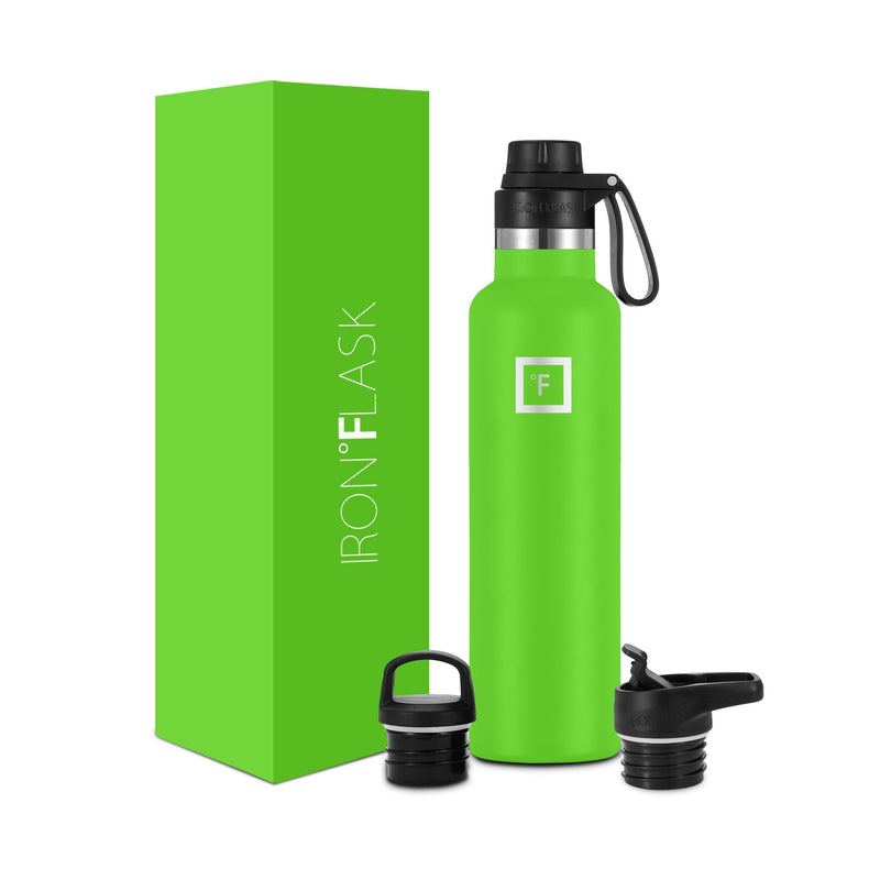 24 Oz Narrow Mouth Water Bottle with Spout Lid Narrow Mouth Water Bottles Iron Flask Kiwi Green