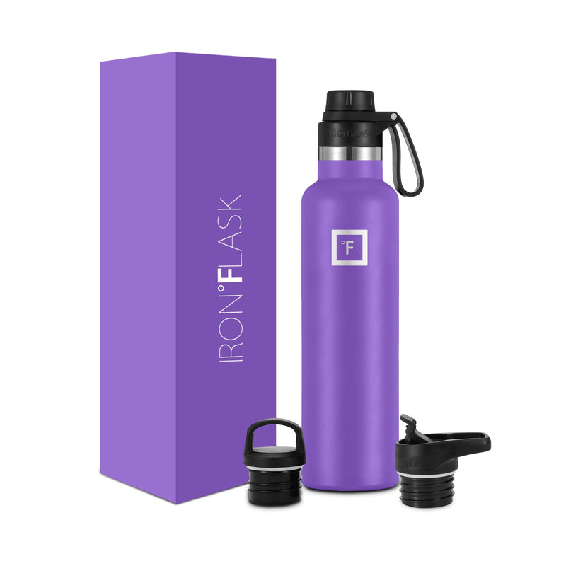 24 Oz Narrow Mouth Water Bottle with Spout Lid Narrow Mouth Water Bottles Iron Flask Violet