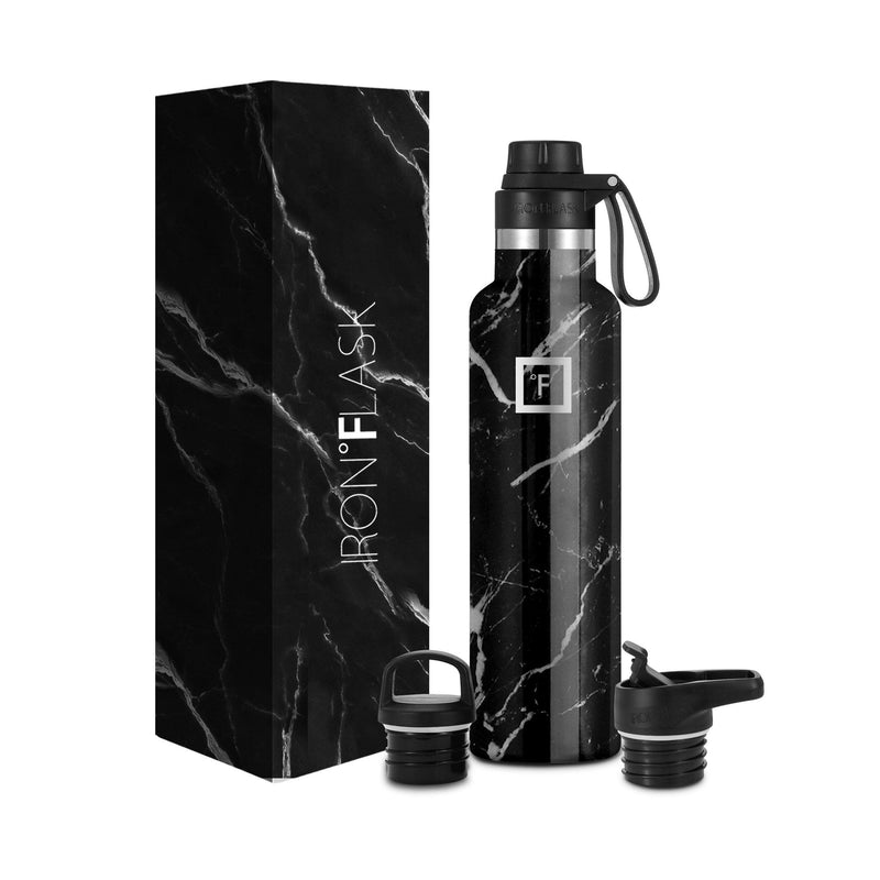 24 Oz Narrow Mouth Water Bottle with Spout Lid Narrow Mouth Water Bottles Iron Flask Black Marquina