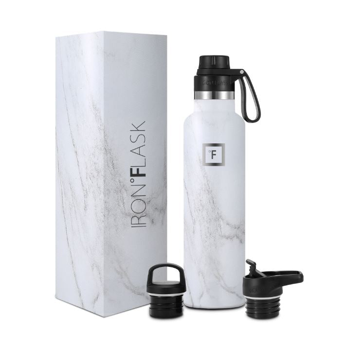 24 Oz Narrow Mouth Water Bottle with Spout Lid Narrow Mouth Water Bottles Iron Flask Carrara Marble