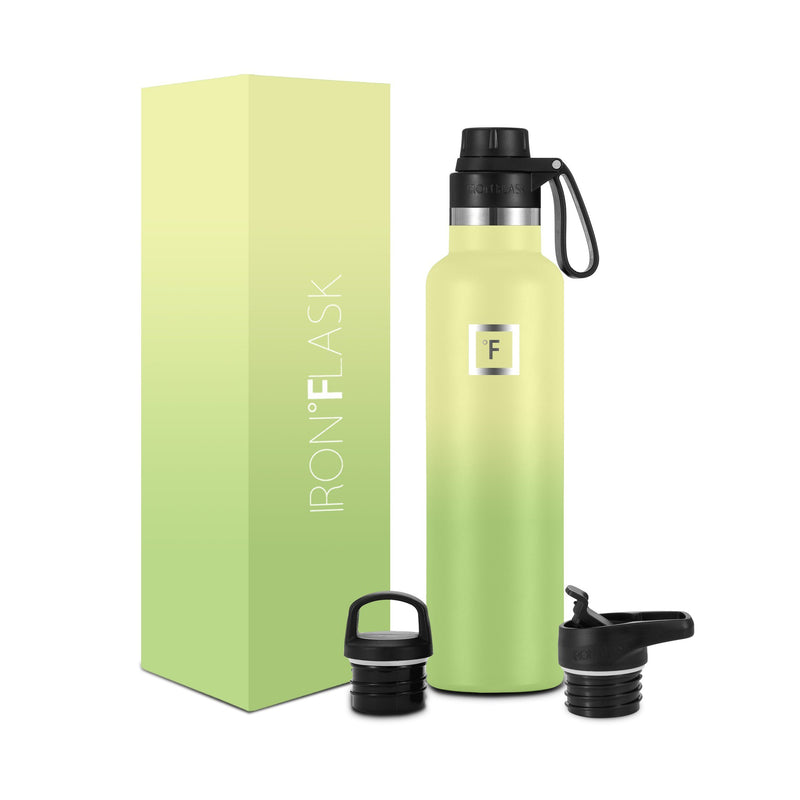 24 Oz Narrow Mouth Water Bottle with Spout Lid Narrow Mouth Water Bottles Iron Flask Lime