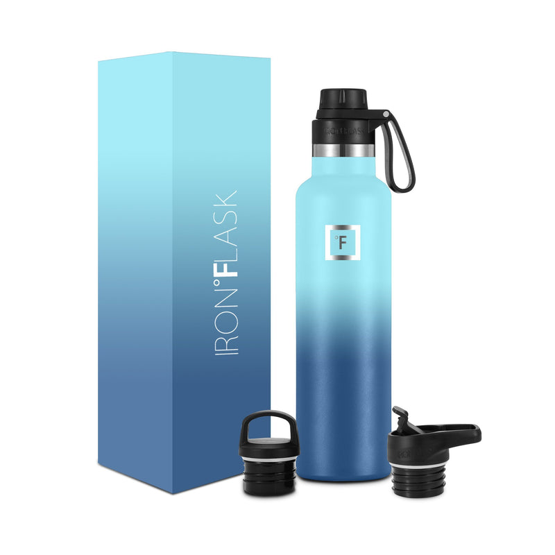 24 Oz Narrow Mouth Water Bottle with Spout Lid Narrow Mouth Water Bottles Iron Flask Blue Waves
