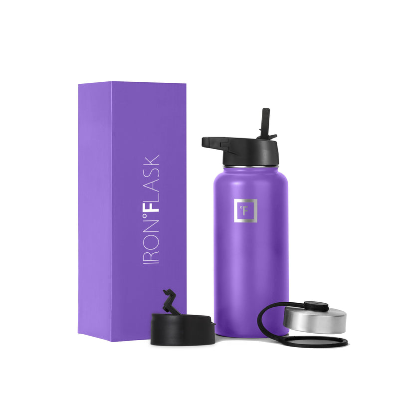 32 oz Wide Mouth Water Bottle with Straw Lid Wide Mouth - Straw Lid Iron Flask Violet