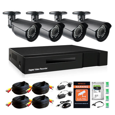 Nyxcam 2MP 1080P 4CH home security camera system with 4 bullet AHD security cameras and 1 TB  hard drive - Nyxcam