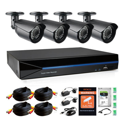 Nyxcam 4MP 4CH home security camera system with 4 4MP AHD surveillance camera and 1 TB hard drive - Nyxcam