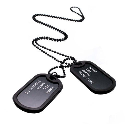 Black Military Dog Tags Style Necklace