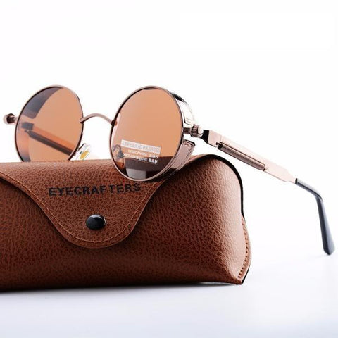 RETRO Steampunk Inspired Thick Metal Round Sunglasses In 10 Colors