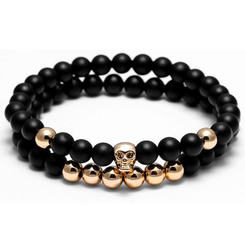 Double Piece Natural Stone Skull Charm Bracelets