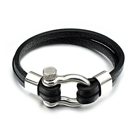 Screw Shackles Black Leather Bracelet