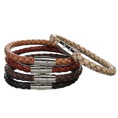 Genuine Leather Braided Magnetic Bracelet - FREE for a limited time