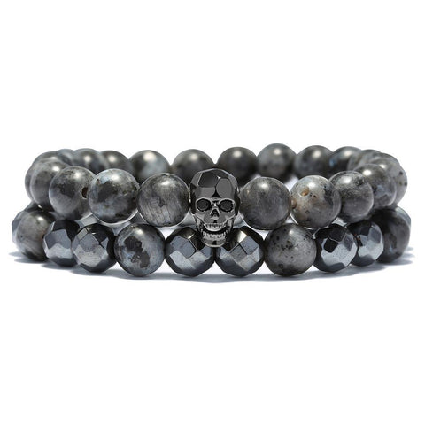 PUNK Double Layer Bracelet with a Skull