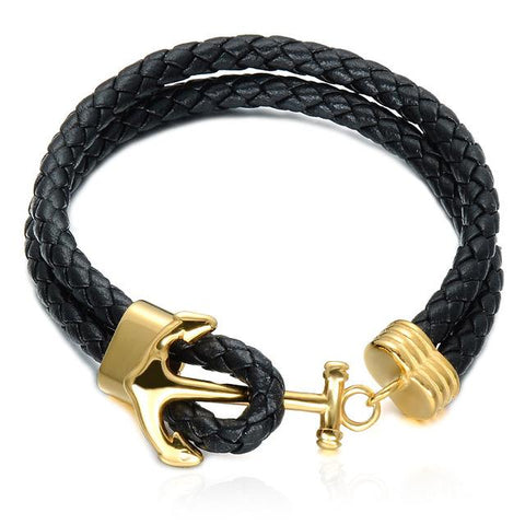 Leather Braided Bracelet with Anchor Clasp
