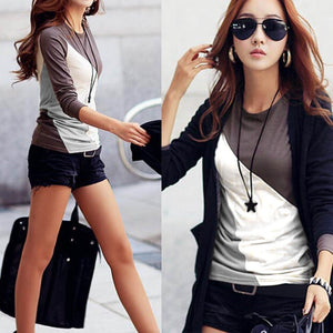 Girl Ladies Women Casual O-Neck Long Sleeve Blouse Patchwork Contrast Color Slim T-Shirt Tops S/M/L/XL