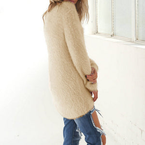 Fashion Women Casual Tops Mohair Blend Fuzzy Blouse Pullover Jumper Loose Sweater Knitwear
